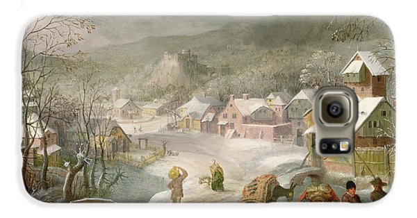 A Winter Landscape With Travellers On A Path Galaxy S6 Case by Denys van Alsloot