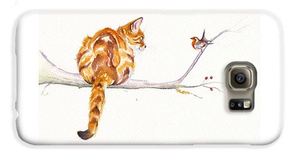 Cat Galaxy S6 Case - A Winter Meeting by Debra Hall