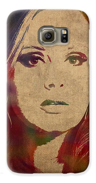 Adele Watercolor Portrait Galaxy S6 Case by Design Turnpike
