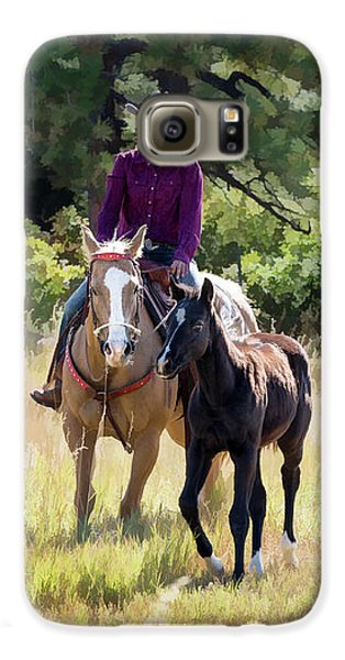 Afternoon Ride In The Sun - Cowgirl Riding Palomino Horse With Foal Galaxy S6 Case