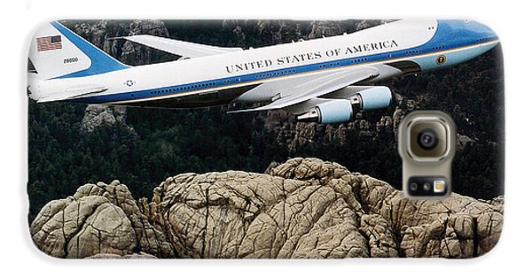Air Force One Flying Over Mount Rushmore Galaxy S6 Case by War Is Hell Store