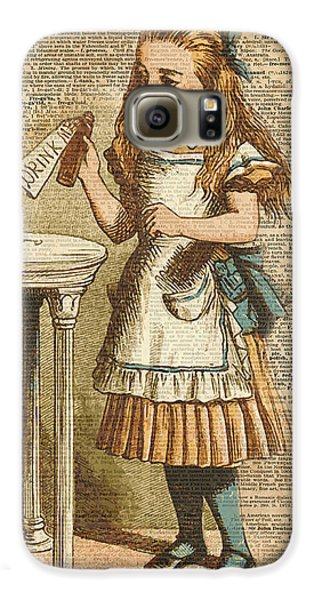 Animals Galaxy S6 Case - Alice In Wonderland Drink Me Vintage Dictionary Art Illustration by Anna W