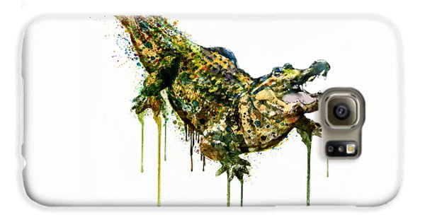 Alligator Watercolor Painting Galaxy S6 Case by Marian Voicu