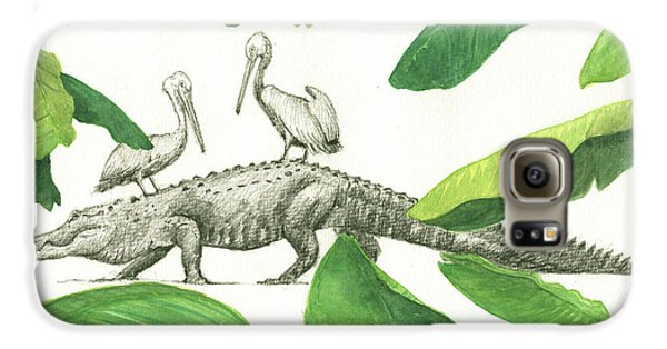 Pelican Galaxy S6 Case - Alligator With Pelicans by Juan Bosco