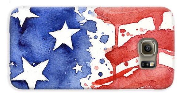 The White House Galaxy S6 Case - American Flag Watercolor Painting by Olga Shvartsur