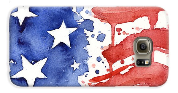 American Flag Watercolor Painting Galaxy S6 Case