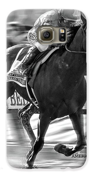 American Pharoah And Victor Espinoza Win The 2015 Belmont Stakes Galaxy S6 Case by Thomas Pollart