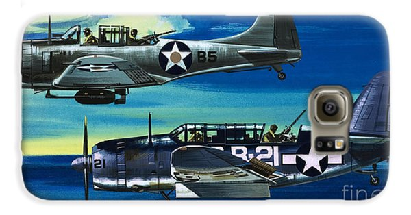American Ww2 Planes Douglas Sbd1 Dauntless And Curtiss Sb2c1 Helldiver Galaxy S6 Case by Wilf Hardy