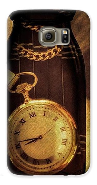 Antique Pocket Watch In A Bottle Galaxy S6 Case by Susan Candelario