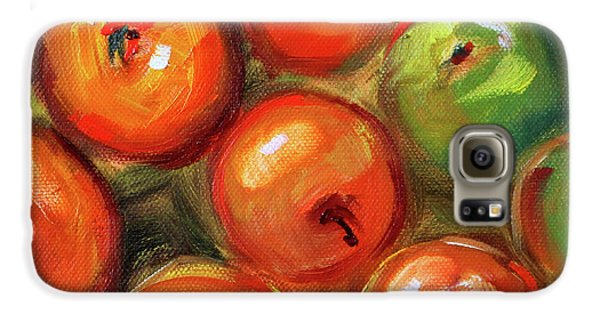Galaxy S6 Case featuring the painting Apple Barrel Still Life by Nancy Merkle