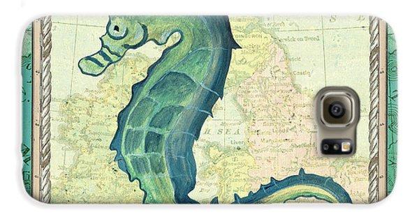 Seahorse Galaxy S6 Case - Aqua Maritime Seahorse by Debbie DeWitt
