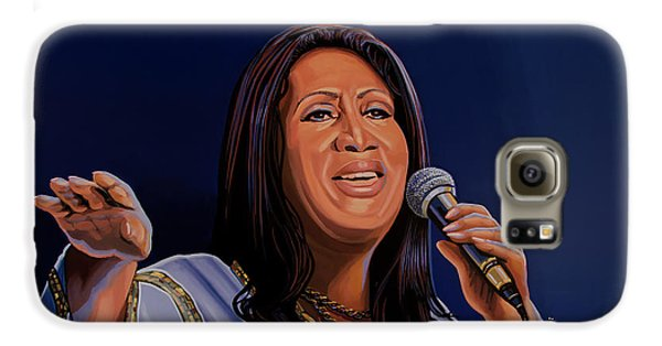 Aretha Franklin Painting Galaxy S6 Case by Paul Meijering