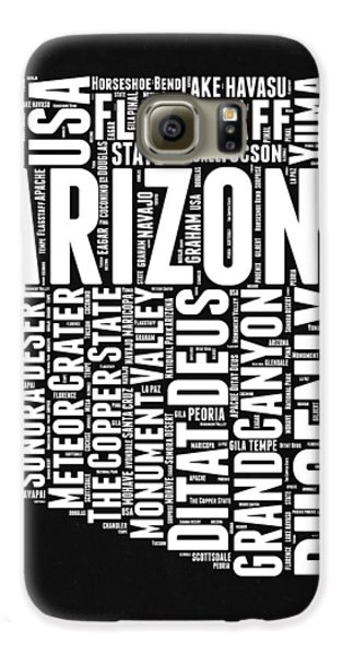 Arizona Black And White Word Cloud Map Galaxy S6 Case by Naxart Studio