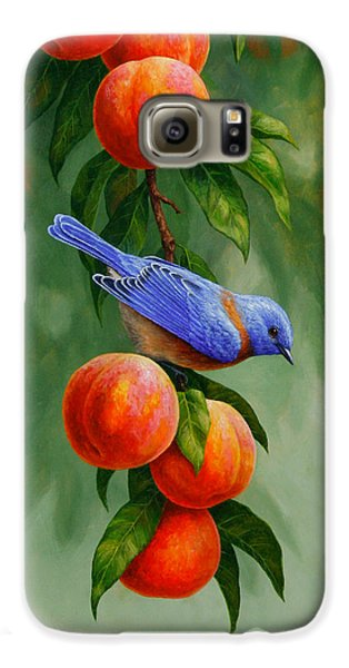 Bluebird Galaxy S6 Case - Bird Painting - Bluebirds And Peaches by Crista Forest