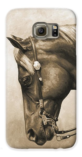 Horse Galaxy S6 Case - Western Horse Painting In Sepia by Crista Forest