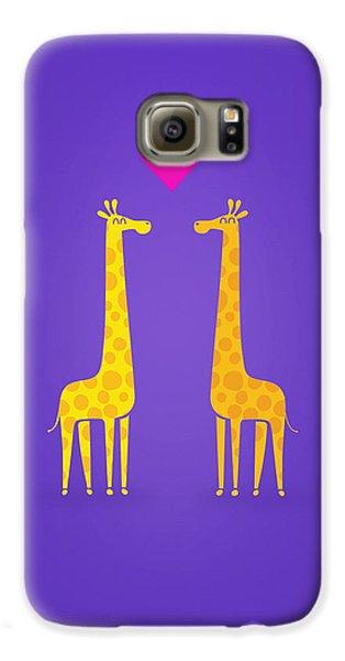 Cute Cartoon Giraffe Couple In Love Purple Edition Galaxy S6 Case by Philipp Rietz