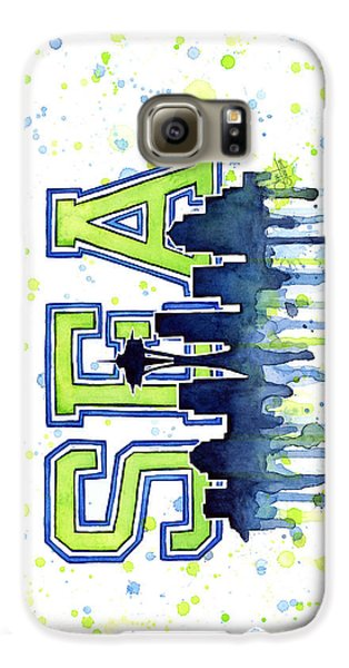Seattle Watercolor 12th Man Art Painting Space Needle Go Seahawks Galaxy S6 Case by Olga Shvartsur