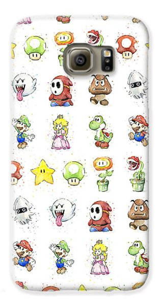 Mario Characters In Watercolor Galaxy S6 Case