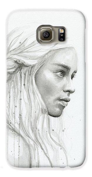 Dragon Galaxy S6 Case - Daenerys Watercolor Portrait by Olga Shvartsur