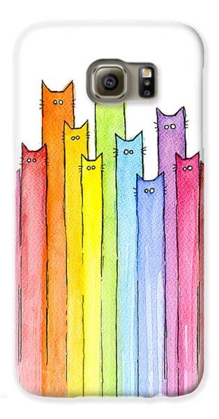 Animals Galaxy S6 Case - Cat Rainbow Watercolor Pattern by Olga Shvartsur