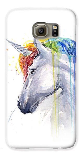 Horse Galaxy S6 Case - Unicorn Rainbow Watercolor by Olga Shvartsur