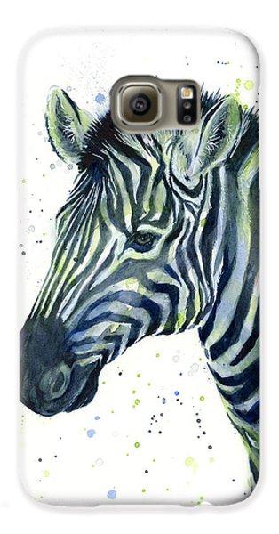 Zebra Watercolor Blue Green  Galaxy S6 Case by Olga Shvartsur