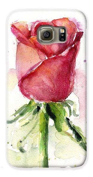 Flowers Galaxy S6 Case - Rose Watercolor by Olga Shvartsur