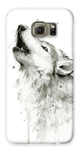 Howling Wolf Watercolor Galaxy S6 Case