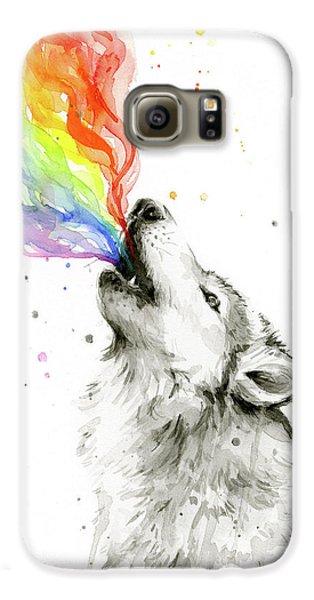 Wolf Rainbow Watercolor Galaxy S6 Case