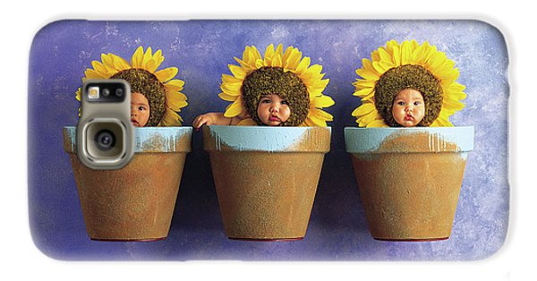 Sunflower Galaxy S6 Case - Sunflower Pots by Anne Geddes