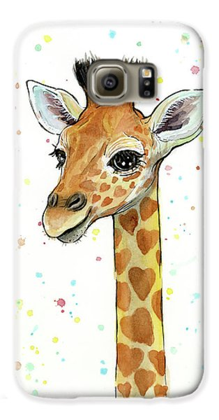 Baby Giraffe Watercolor With Heart Shaped Spots Galaxy S6 Case