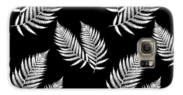 Galaxy S6 Case featuring the mixed media Fern Pattern Black And White by Christina Rollo