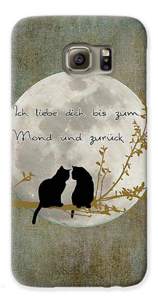 Galaxy S6 Case featuring the digital art Ich Liebe Dich Bis Zum Mond Und Zuruck  by Linda Lees