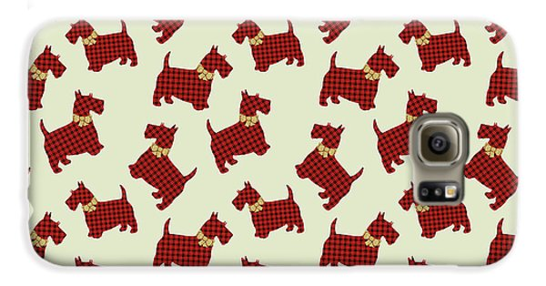 Galaxy S6 Case featuring the mixed media Scottie Dog Plaid by Christina Rollo
