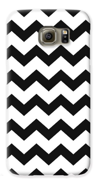 Galaxy S6 Case featuring the mixed media Black White Geometric Pattern by Christina Rollo