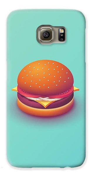 Galaxy S6 Case - Burger Isometric - Plain Mint by Ivan Krpan