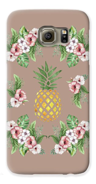 Galaxy S6 Case featuring the painting Exotic Hawaiian Flowers And Pineapple by Georgeta Blanaru