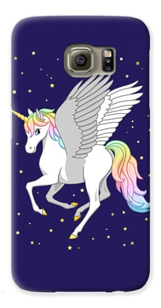 Pegasus Galaxy S6 Case - Pretty Rainbow Unicorn Flying Horse by Crista Forest