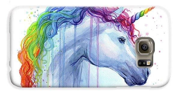 Magician Galaxy S6 Case - Rainbow Unicorn Watercolor by Olga Shvartsur