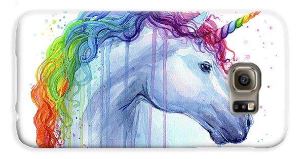 Unicorn Galaxy S6 Case - Rainbow Unicorn Watercolor by Olga Shvartsur