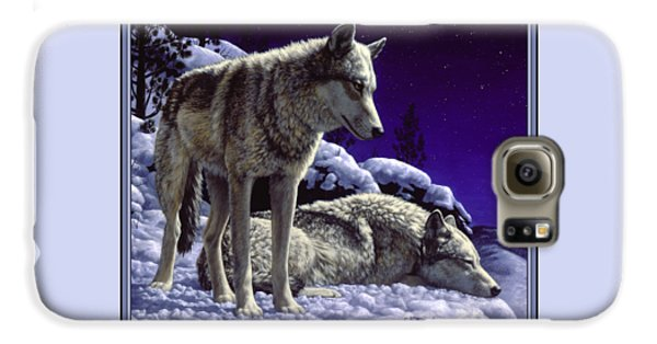 Wolf Painting - Night Watch Galaxy S6 Case by Crista Forest