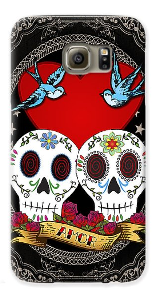 Bluebird Galaxy S6 Case - Love Skulls II by Tammy Wetzel