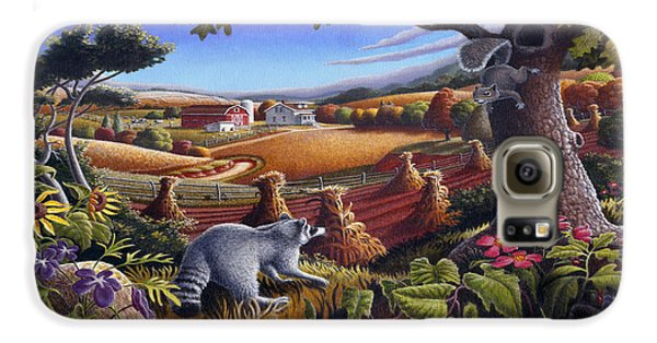 Rural Country Farm Life Landscape Folk Art Raccoon Squirrel Rustic Americana Scene  Galaxy S6 Case