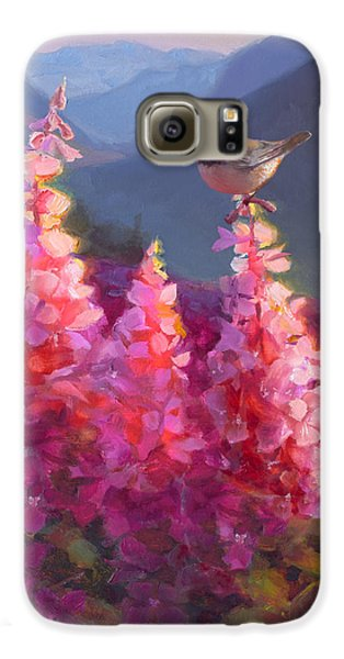 Chickadee Galaxy S6 Case - Eagle River Summer Chickadee And Fireweed Alaskan Landscape by Karen Whitworth