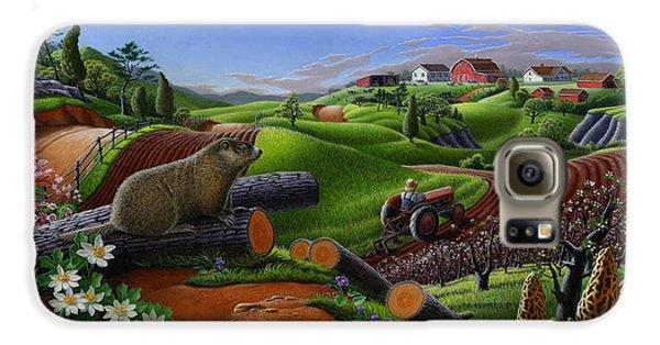 Farm Folk Art - Groundhog Spring Appalachia Landscape - Rural Country Americana - Woodchuck Galaxy S6 Case by Walt Curlee