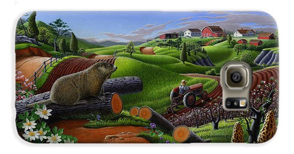 Farm Folk Art - Groundhog Spring Appalachia Landscape - Rural Country Americana - Woodchuck Galaxy S6 Case by Walt Curlee