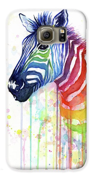 Rainbow Zebra - Ode To Fruit Stripes Galaxy S6 Case by Olga Shvartsur