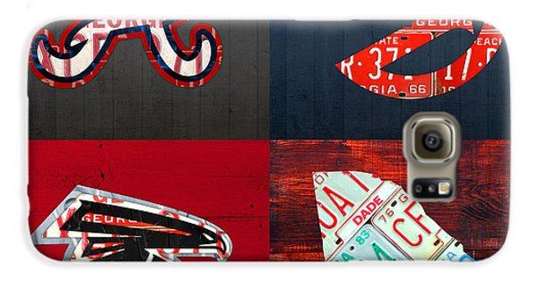 Atlanta Sports Fan Recycled Vintage Georgia License Plate Art Braves Hawks Falcons Plus State Map Galaxy S6 Case