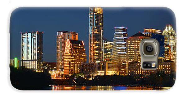 Austin Skyline At Night Color Panorama Texas Galaxy S6 Case by Jon Holiday
