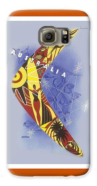 Kangaroo Galaxy S6 Case - Australia Boomerang Aboriginal Art National Travel Association Vintage World Travel Poster by Retro Graphics